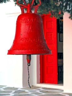 Red bell in Kythnos island, Cyclades, Greece Mykonos, Santorini, Beautiful Islands, Beautiful World, Cider House, Simply Red, Greece Islands, Shades Of Red, Red Color