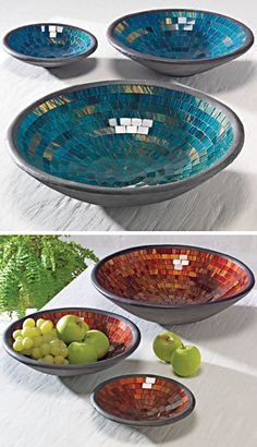 Each one of our mosaic bowls has been individually made by hand with intricately placed mosaic tiles, which make these gorgeous bowls sparkle in the l. Mosaic Vase, Mosaic Flower Pots, Mosaic Diy, Mosaic Crafts, Mosaic Projects, Mosaic Tiles, Mosaic Designs, Mosaic Patterns, Rustic Platters