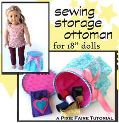 ag sew, pixi fair, storag ottoman, ag doll, american girl, sewing storage, sew storag
