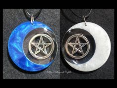 Check out this item in my Etsy shop https://www.etsy.com/au/listing/563460511/pentacle-and-crescent-moon-double-sided