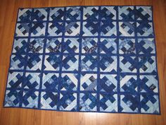 "Shimmering Geometric Quilt in Shades of Blue 45"" x 60""  Lap or Throw Size via Etsy."