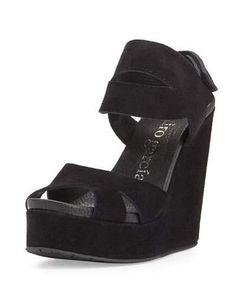 Pedro Garcia Teilor Suede Platform Sandal, Black