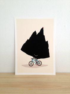 Mountain Biking  Art Print A4 by Haasbroek on Etsy, $35.00