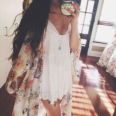 <3 baby doll dress and kimono Flowy Dress, Outfits, Fashion, Clothing, Summer Style, Dresses, Floral Kimono, Baby Doll D...