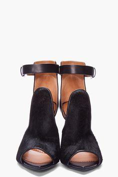 Givenchy Black Calf-hair Podium Sandals.