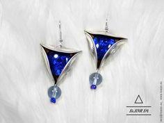 Bermuda #4 fülbevaló ezüst-kék, Ékszer, óra, Fülbevaló, Meska