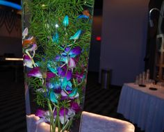 Purple and blues themed centerpiece with live goldfish! Love it!