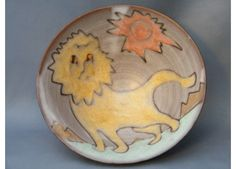 #0036  Rare 'Lion & Sun' Studio Pottery Bowl by Tessa Fuchs (1936-2012)