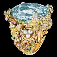 Ring in 18K yellow gold, diamonds, cultured pearls, aquamarine, tsavorite…