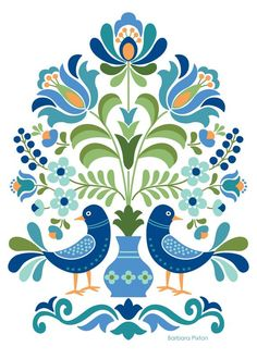 Hungarian Folk Art Blue Birds Hungarian Folk Art Print This is an image created in Adobe Illustrator and inspired by the beautiful folk designs of Hungary. The image is printed on museum quality fine art paper. Choice of three print sizes: 5 Hungarian Embroidery, Folk Embroidery, Embroidery Patterns, Folk Art Flowers, Flower Art, Red Flowers, Red Roses, Art Floral, Pintura Tole