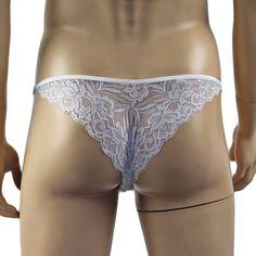 Mens Sexy Lace Bikini Brief, Male Panties White Lace Camisole Top, Lace Bra, Lingerie For Men, Men's Briefs, Lace Bikini, Satin Bows, Modern Man, Bra Tops, Lace Detail