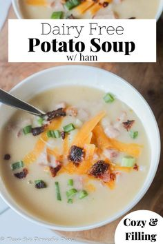 Creamy and satisfying potato soup with tender bits of ham and hearty potatoes! Lactose Free Soup Recipes, Gluten Free Soup, Allergy Free Recipes, Healthy Soup Recipes, Real Food Recipes, Fodmap Recipes, Diet Recipes, Low Carb Potatoes, Dairy Free Options