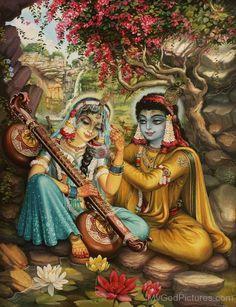 Goddess Radha Playing Vina