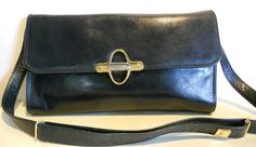 Awsome Italian vintage black leather shoulder bag, clutch. Nanini