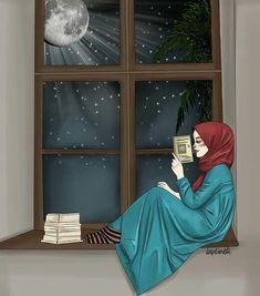 Meri jaan good night bebé till the morning comes darling husband. Hijab Anime, Anime Muslim, Muslim Girls, Muslim Couples, Girl Wallpaper, Cartoon Wallpaper, Girl Cartoon, Cartoon Art, Hijab Drawing