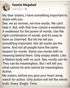 """Yasmin Mogahed ♥ """"before you give your heart away, watch for actions. Self Love Quotes, Fact Quotes, Words Quotes, Quotes To Live By, Me Quotes, Motivational Quotes, Qoutes, Beautiful Islamic Quotes, Islamic Inspirational Quotes"""
