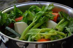 Legumes prontos para fazer o Mirepoix...