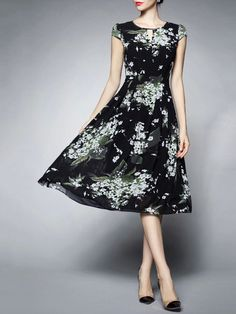 Flowers Print Chiffon Midi Dress
