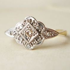 Art Deco 1930's Platinum Diamond Flower and 18k Gold by luxedeluxe, $415.00