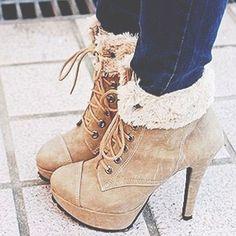 b1ca1e0f7f99 cute heel boots  fur Plateau Highheels, High Heel Stiefel, Stiefel,  Stiefeletten,
