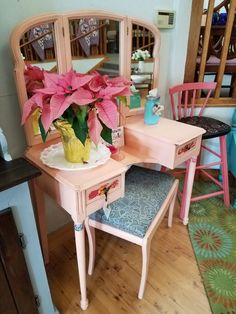This vintage vanity table is the perfect spot for the lady in your life to start and end her day. The tri-fold mirror folds inward so she can check every angle of her appearance before going to school, the office, or a special evening out.