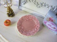 Pink Rose Porcelain Plate for Dollhouse. $3.75, via Etsy.