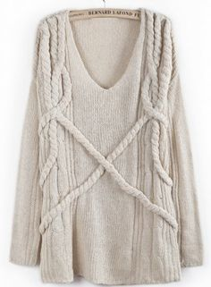 Cable Knit Loose Sweater.