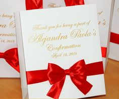 25 Confirmation Bags with satin ribbon bow and your name, Personalized Birthday Party Red & Gold Fav Birthday Gift Bags, Party Gift Bags, Personalized Birthday Gifts, Birthday Party Favors, Party Gifts, Thank You Bags, Wedding Welcome Bags, Goodie Bags, Red Gold