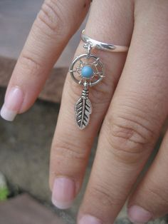 Tiny Dream Catcher Charm Ring- Silver Plated Turquoise Dreamcatcher Feather Adjustable Finger Jewelry