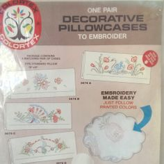 Pillowcase Embroidery Kit 3676A One Standard Pair 18 x 30 Colortex Swan Flowers | eBay