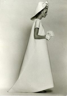 vintage Balenciaga wedding dress #balenciaga #hat #dress #bride
