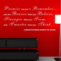 Pop Decors Promise Me You'll Remember - Christopher Robin to Pooh Wall Decal Color: White