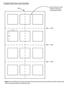 To determine the number of columns and rows your TV box will hold, first create a template using a sheet of kraft paper that has been cut to the same size as the TV box. Fold paper in half lengthwise and widthwise to easily find both the horizontal and vertical centers. Then fold both the bottom and top of the kraft paper to the center line and crease. You should now have a sheet of paper with 8 sections that will help you determine the placement of boxes (see diagram below, Image 1).
