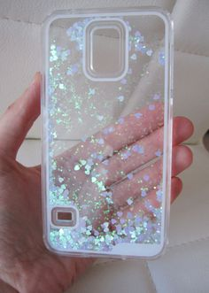 Samsung Galaxy S6 case - clear glitter liquid with hipster blue and green aurora borealis heart and glitter iridescent geometric sequins floating in a waterfall quicksand liquid trendy phone case. US seller.