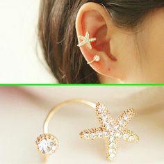 Starfish and Round Rhinestone Ear Cuff (Single, No Piercing) | LilyFair Jewelry, $10.99!