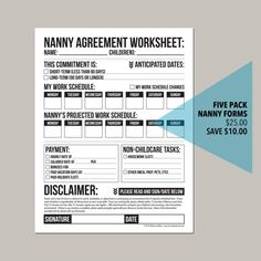 Emergency Contact Form for Nanny, Babysitter or Daycare: printable pdf sheet Nanny Agencies, Nanny Services, Nanny Binder, Nanny Contract, Emergency Contact Form, Glenn Doman, Babysitting Activities, Toddler Activities, Break A Habit