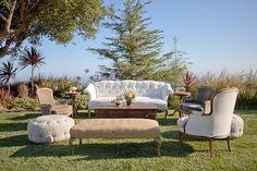 Vintage wedding lounge vignette from Found Vintage Rentals.