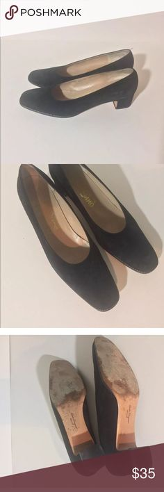 Salvatore Ferragamo 9AA Beautiful classic Ferragamo low heeled pumps,They are black suede with gold seem detailing.  perfect for days when you are on your feet.  Suede changes color to touch. AA narrow. Box not included    Ferragamo is one of Italy's most prestigious fashion houses. Their shoes have a classic style, combining quality, beauty and sophistication. Salvatore Ferragamo Shoes Heels