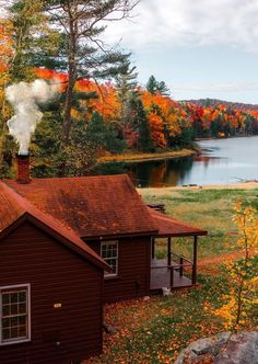 Cabin In The Woods, Autumn Morning, Autumn Cozy, Autumn Aesthetic, Cabins And Cottages, Log Cabins, Cozy Cabin, Cabin Homes, The Great Outdoors