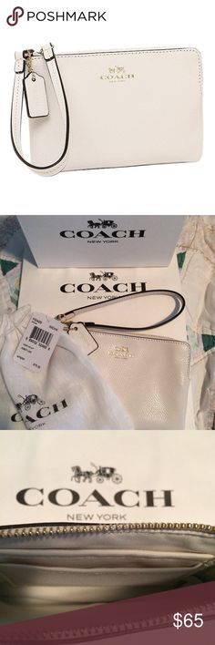 """COACH LEATHER WRISTLET Coach white crossgrain leather wristlet. 6"""" X 4"""". Coach color: """"chalk."""" Fits iPhone 6. Dust bag, gift box and gift bag included. Great for summer!  I purchased this at a South Florida Coach store. Coach Bags Clutches & Wristlets"""