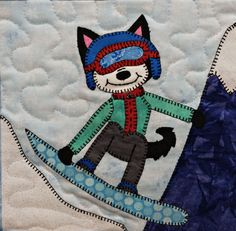 Catch some MAJOR air on the snowboard!  Instant download, sew cute.  Ms P Designs USA http://etsy.me/2DGFcdM #supplies #babyshower #quilting #whimsicalquilt #nurseryquilt #kidsquiltpattern #pdfappliquepattern #downloadablequilt #huskydogpdf