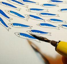 Fish art Sardines Small original illustration on paper