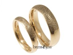 From www.brentjess.com - Set of Comfort Fit Low Dome Fingerprint Wedding Bands in 14k Rose Gold with Exterior Tip Prints - Custom handmade fingerprint jewelry by Brent&Jess
