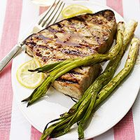Holy cow! I made this Grilled Teriyaki Swordfish with grill pineapple(recipe also pinned), grilled asparagus and wild rice for Father's Day...It was DELICIOUS!!!