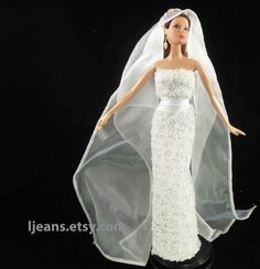 Barbie Wedding Dress with Acdessories by ljeans on Etsy, $13.00
