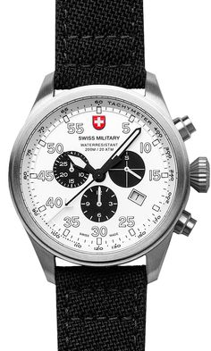 M's Swiss Military chronograph HAWK, Swiss Made quartz chronograph mvt. Ronda cal. 5030, 13 jewel, silver dial, stainless steel case, screw-down winding crown, sapphire crystal, black canvas strap (width 22mm, length 190mm), 20 ATM. Case 44mm. rrp = USD 851