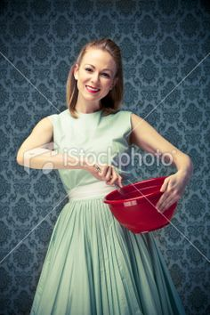 Housewife holding a mixing bowl Royalty Free Stock Photo Housewife Photos, 50s Housewife, Housewife Costume, 50s Hairstyles, Photoshoot Themes, Character Costumes, Photo Sessions, Damn Yankees, Design Inspiration