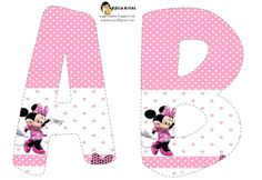 Free printable letters and numbers. Right click and save as, each letter you want (site is in spanish) Minnie Birthday, 2nd Birthday Parties, Birthday Ideas, Mickey E Minie, Disney Alphabet, Minnie Mouse Theme, Minnie Mouse Rosa, Mickey Party, Mouse Parties