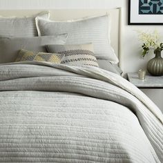 west elm's collection of modern quilts and coverlets feature fresh colors and patterns. Find bed quilts and coverlets and update your space. Large Bedroom, Cozy Bedroom, Modern Bedroom, Nature Bedroom, Master Bedroom, Bedroom Ideas, Home Remodeling Diy, Bedroom Accessories, Shop Interiors