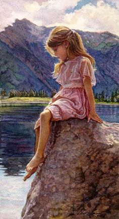 "✿ ❤ Original Painting  ""Child of the Lake"" ~ by Steve Hanks:"